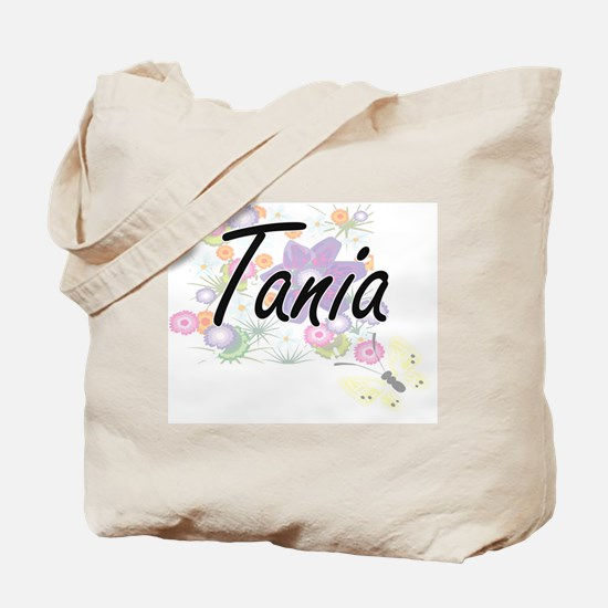 Tania Artistic Name Design with Flowers Tote Bag