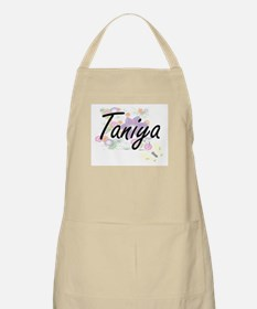 Taniya Artistic Name Design with Flowers Apron
