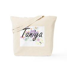 Taniya Artistic Name Design with Flowers Tote Bag