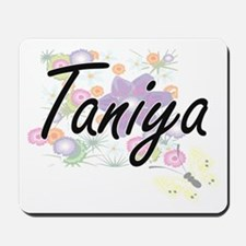 Taniya Artistic Name Design with Flowers Mousepad