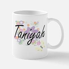Taniyah Artistic Name Design with Flowers Mugs