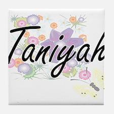 Taniyah Artistic Name Design with Flo Tile Coaster