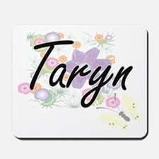 Taryn Artistic Name Design with Flowers Mousepad