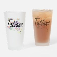 Tatiana Artistic Name Design with F Drinking Glass