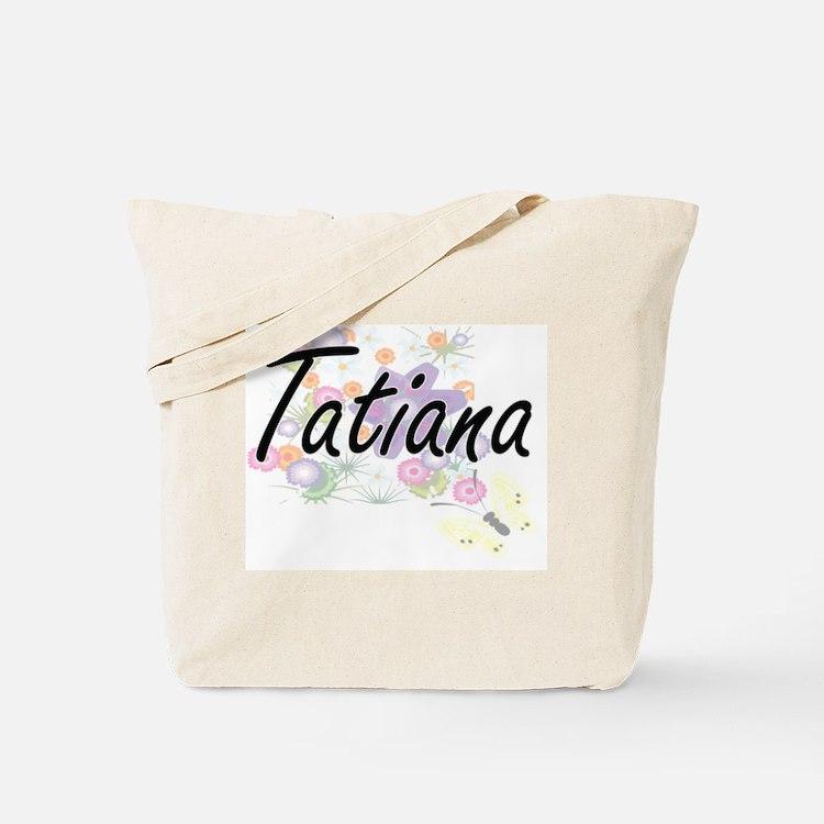 Tatiana Artistic Name Design with Flowers Tote Bag