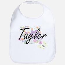 Tayler Artistic Name Design with Flowers Bib
