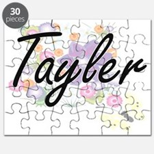 Tayler Artistic Name Design with Flowers Puzzle