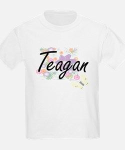 Teagan Artistic Name Design with Flowers T-Shirt