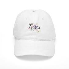 Teagan Artistic Name Design with Flowers Baseball Cap