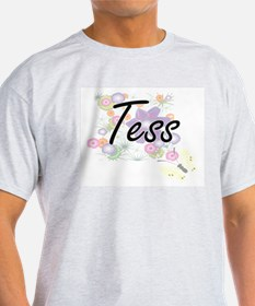 Tess Artistic Name Design with Flowers T-Shirt
