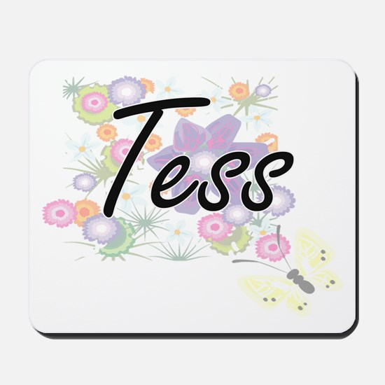 Tess Artistic Name Design with Flowers Mousepad