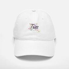 Tess Artistic Name Design with Flowers Baseball Baseball Cap