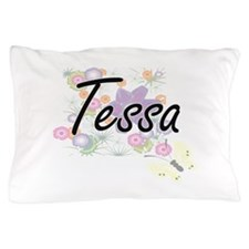 Tessa Artistic Name Design with Flower Pillow Case