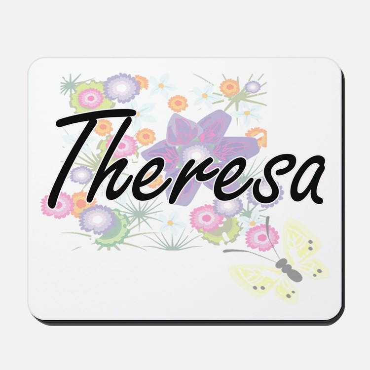 Theresa Artistic Name Design with Flower Mousepad