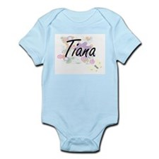 Tiana Artistic Name Design with Flowers Body Suit