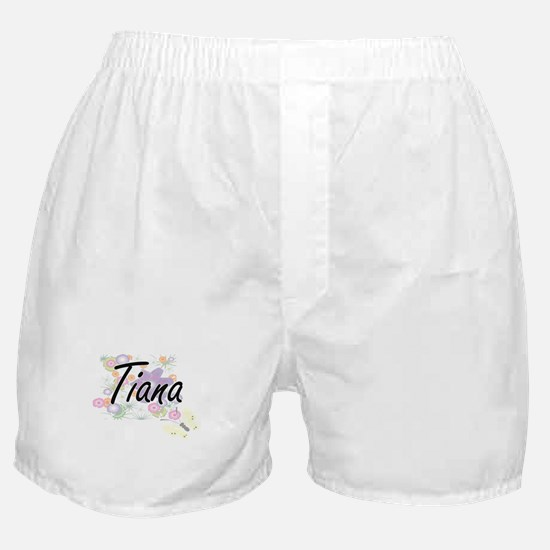 Tiana Artistic Name Design with Flowe Boxer Shorts