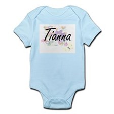 Tianna Artistic Name Design with Flowers Body Suit