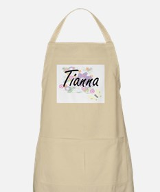 Tianna Artistic Name Design with Flowers Apron