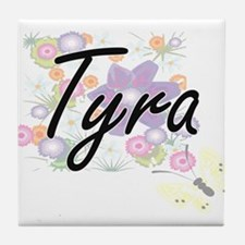 Tyra Artistic Name Design with Flower Tile Coaster