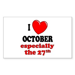 October 27th Rectangle Sticker