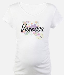 Vanessa Artistic Name Design wit Shirt