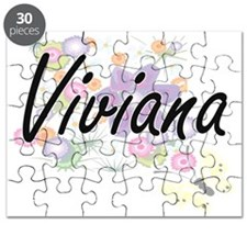 Viviana Artistic Name Design with Flowers Puzzle