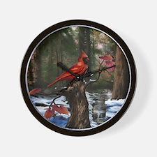 cardinal bird art Wall Clock