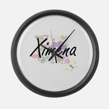 Ximena Artistic Name Design with Large Wall Clock