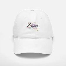 Ximena Artistic Name Design with Flowers Baseball Baseball Cap