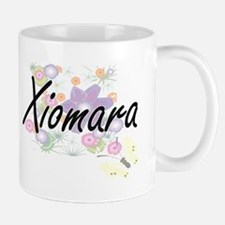 Xiomara Artistic Name Design with Flowers Mugs