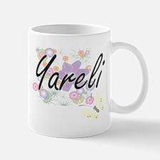 Yareli Artistic Name Design with Flowers Mugs