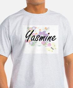 Yasmine Artistic Name Design with Flowers T-Shirt