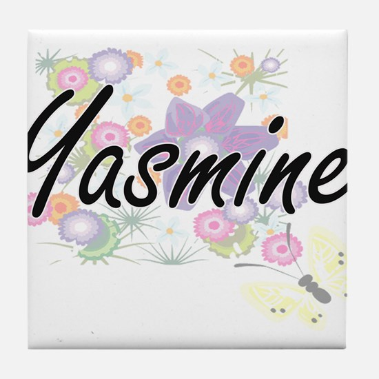 Yasmine Artistic Name Design with Flo Tile Coaster