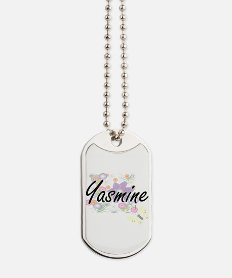 Yasmine Artistic Name Design with Flowers Dog Tags