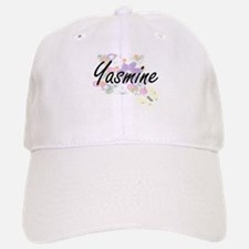 Yasmine Artistic Name Design with Flowers Baseball Baseball Cap