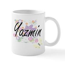 Yazmin Artistic Name Design with Flowers Mugs