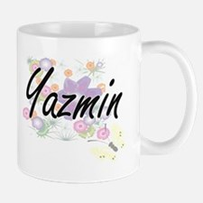 Yazmin Artistic Name Design with Flowers Mugs
