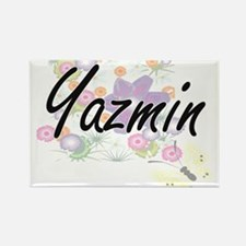 Yazmin Artistic Name Design with Flowers Magnets