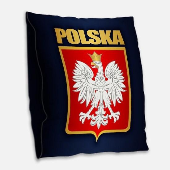 Poland Coa Burlap Throw Pillow