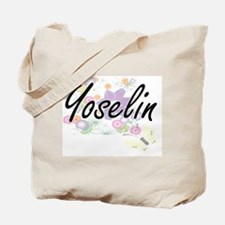 Yoselin Artistic Name Design with Flowers Tote Bag