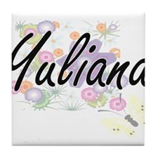 Yuliana Artistic Name Design with Flo Tile Coaster