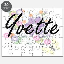 Yvette Artistic Name Design with Flowers Puzzle
