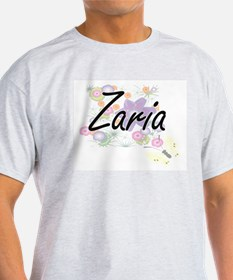 Zaria Artistic Name Design with Flowers T-Shirt