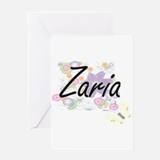 Zaria Artistic Name Design with Flo Greeting Cards