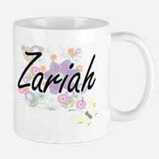 Zariah Artistic Name Design with Flowers Mugs