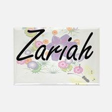 Zariah Artistic Name Design with Flowers Magnets