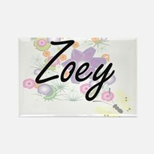 Zoey Artistic Name Design with Flowers Magnets