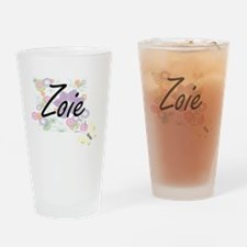 Zoie Artistic Name Design with Flow Drinking Glass
