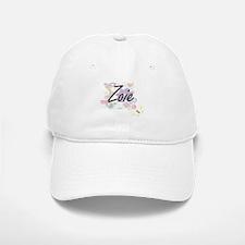 Zoie Artistic Name Design with Flowers Baseball Baseball Cap