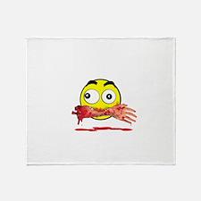 Bloody killer emoji Throw Blanket